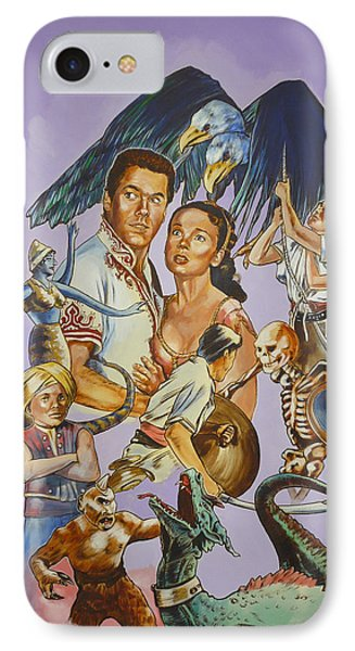 IPhone Case featuring the painting Ray Harryhausen Tribute Seventh Voyage Of Sinbad by Bryan Bustard