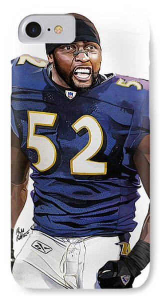Ray Lewis Baltimore Ravens IPhone Case by Michael  Pattison