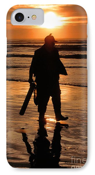 IPhone Case featuring the painting Razor Clam Hunter by Larry Keahey