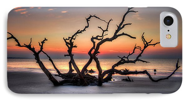 IPhone Case featuring the photograph The Reaching Driftwood Beach Sunrise Jekyll Island Georgia Art by Reid Callaway