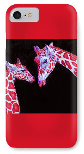 IPhone Case featuring the digital art Read And Black Giraffes by Jane Schnetlage