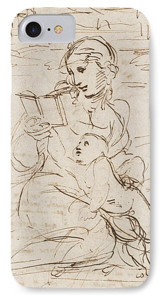 Reading Madonna And Child In A Landscape Betweem Two Cherub Heads IPhone Case by Raphael