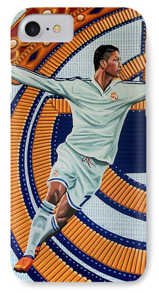 Cristiano Ronaldo iPhone 7 Case - Real Madrid Painting by Paul Meijering