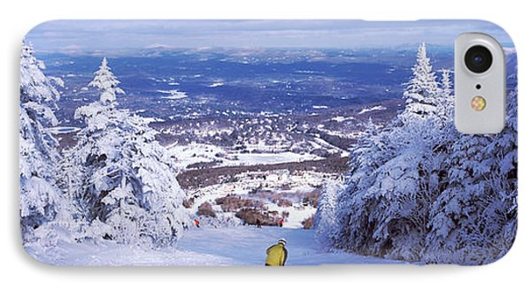 Rear View Of A Person Skiing, Stratton IPhone Case by Panoramic Images