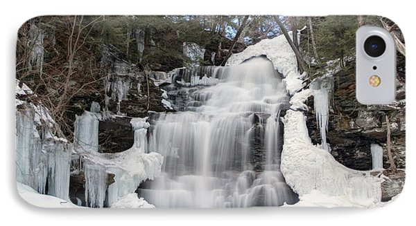 IPhone Case featuring the photograph Receding Winter Ice At Ganoga Falls by Gene Walls