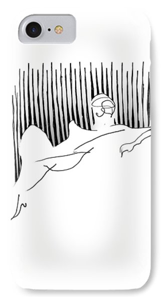 IPhone Case featuring the drawing Reclining Lady by Keith A Link