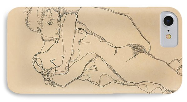 Reclining Nude With Left Leg Drawn In IPhone Case by Egon Schiele