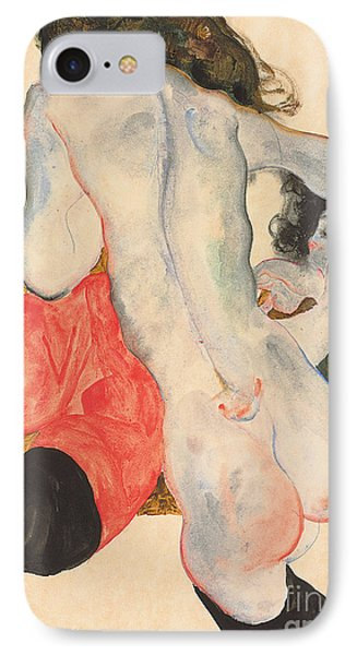 Reclining Woman In Red Trousers And Standing Female Nude IPhone Case
