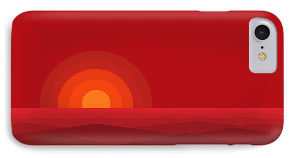Red Abstract Sunset II IPhone Case by Val Arie