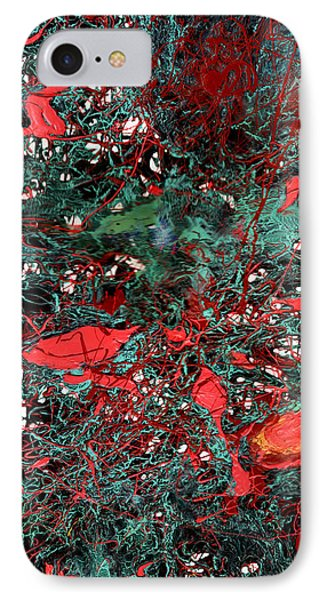 Red And Black Turquoise Drip Abstract IPhone Case by Genevieve Esson