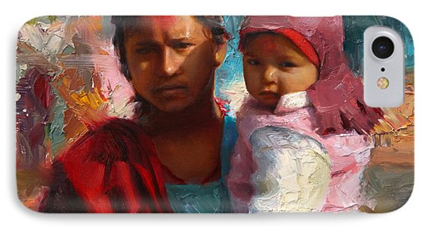 Red And Blue Portrait Of Nepalese Mother And Child IPhone Case