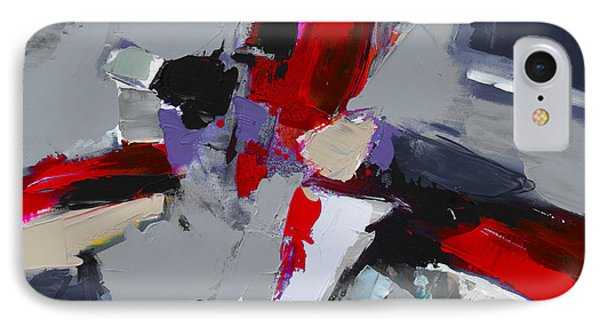 IPhone Case featuring the painting Red And Grey Abstract By Elise Palmigiani by Elise Palmigiani