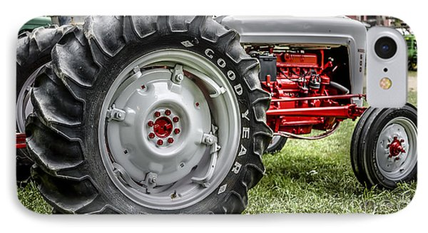Red And White Ford Model 600 Tractor IPhone Case by Edward Fielding