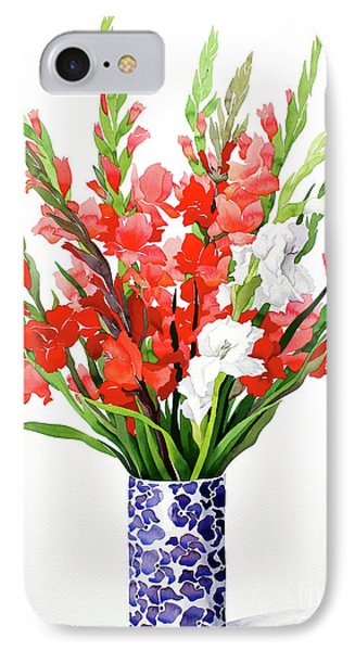 Red And White Gladioli IPhone Case by Christopher Ryland
