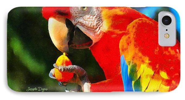 Red Arara Lunch Time - Da IPhone Case by Leonardo Digenio