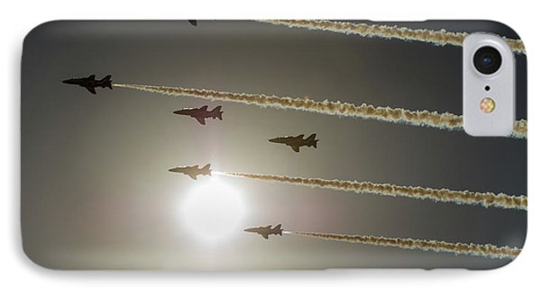 IPhone Case featuring the photograph Red Arrows Backlit Arrival  by Gary Eason