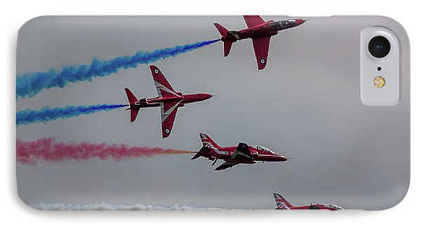 IPhone Case featuring the photograph Red Arrows Break Off - Teesside Airshow 2016 by Scott Lyons