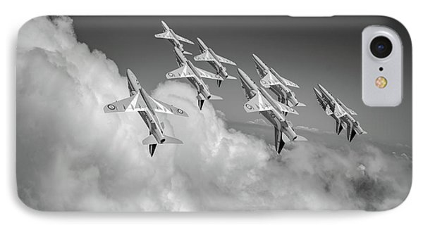 IPhone Case featuring the photograph Red Arrows Sky High Bw Version by Gary Eason