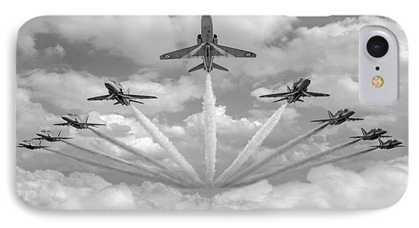 IPhone Case featuring the photograph Red Arrows Smoke On Bw Version by Gary Eason