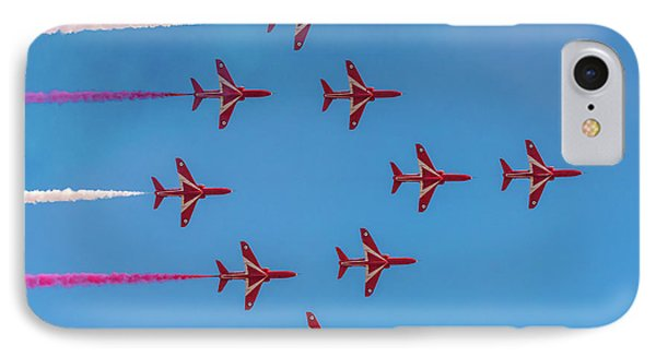 IPhone Case featuring the photograph Red Arrows Typhoon Formation by Gary Eason