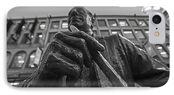 Red Auerbach Chilling At Fanueil Hall Black And White IPhone Case by Toby McGuire