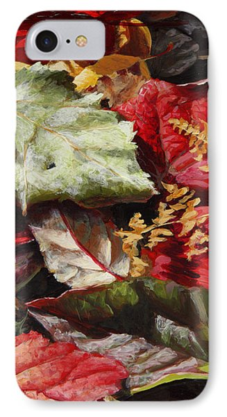 IPhone Case featuring the painting Red Autumn - Wasilla Leaves by Karen Whitworth