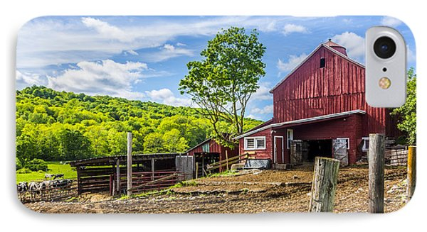 IPhone Case featuring the photograph Red Barn And Cows by Paula Porterfield-Izzo