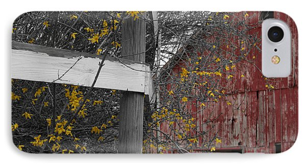 Red Barn And Forsythia IPhone Case