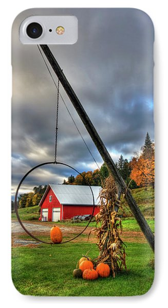 Red Barn And Pumpkins In Autumn - Vermont IPhone Case by Joann Vitali