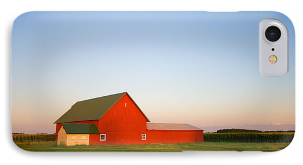 Red Barn And The Moon IPhone Case by Alexey Stiop