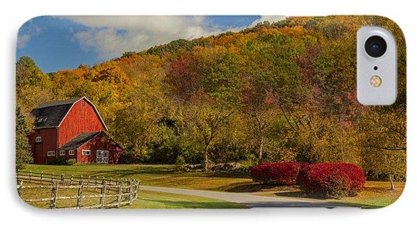 Red Barn Around Fall Foliage IPhone Case