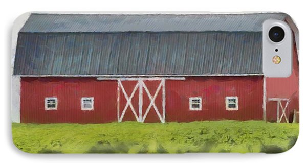 Red Barn Green Field IPhone Case by Dan Sproul