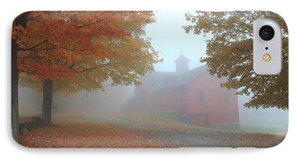 Red Barn In Autumn Fog IPhone Case by John Burk