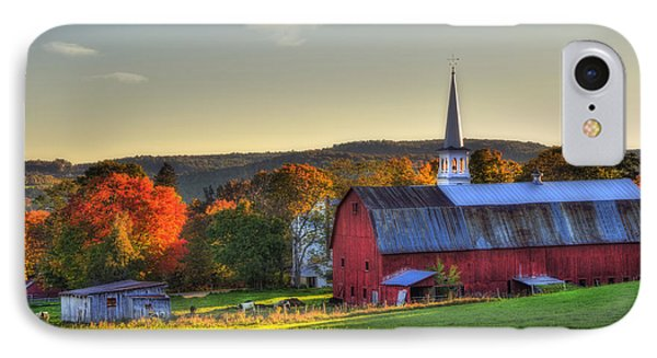 Red Barn In Autumn - Peacham Vermont IPhone Case by Joann Vitali