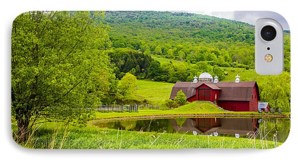IPhone Case featuring the photograph Red Barn In Green Mountains by Paula Porterfield-Izzo