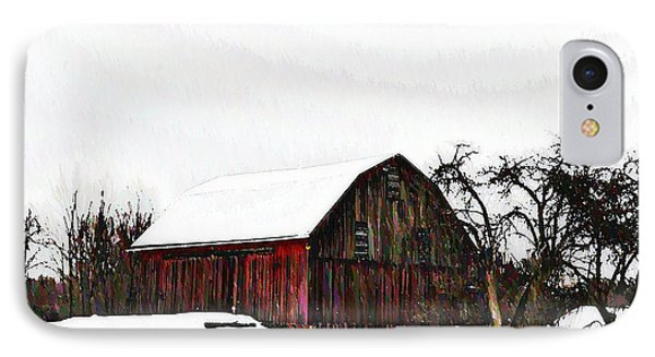 Red Barn In Snow Phone Case by Bill Cannon