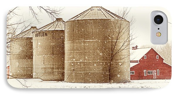 Red Barn In Snow Phone Case by Marilyn Hunt