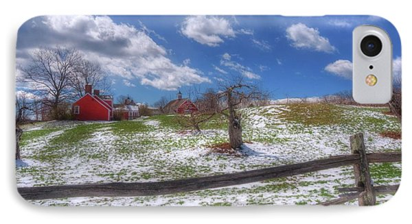 Red Barn In Snow - New Hampshire IPhone Case