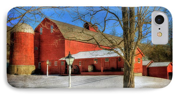 Red Barn In Snow - Vermont Farm IPhone Case