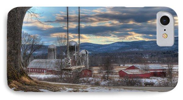 Red Barn In Snow - Vermont Farm Scene IPhone Case