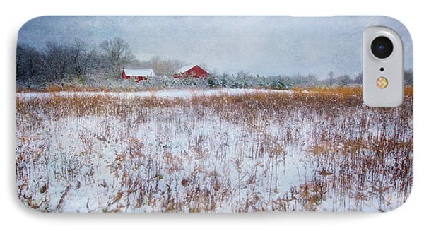 Red Barn In Snow - Winter At Retzer Nature Center  IPhone Case