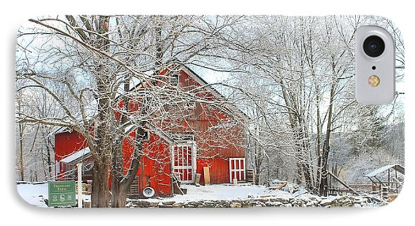 Red Barn In Winter IPhone Case by John Burk