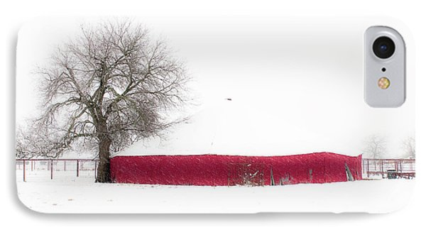 Red Barn In Winter Phone Case by Tamyra Ayles