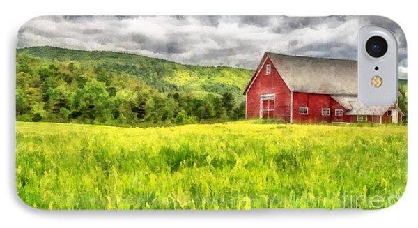 Red Barn Landscape Watercolor IPhone Case by Edward Fielding