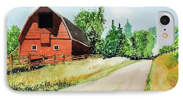 IPhone Case featuring the painting Red Barn Near Steamboat Springs by Tom Riggs