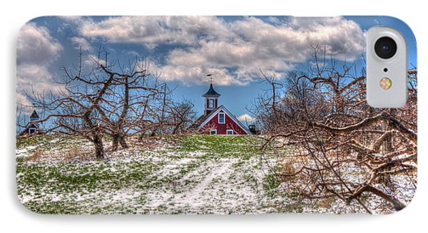 Red Barn On Farm In Winter IPhone Case