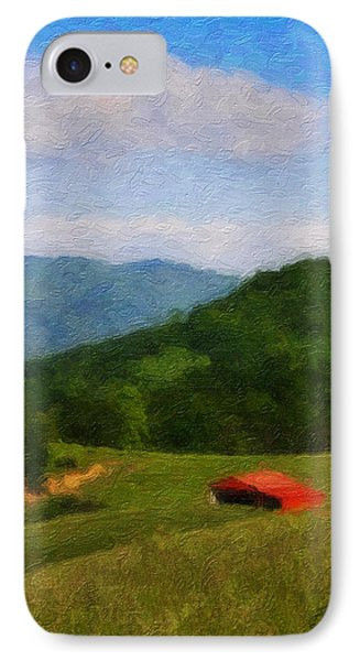 Red Barn On The Mountain Phone Case by Teresa Mucha
