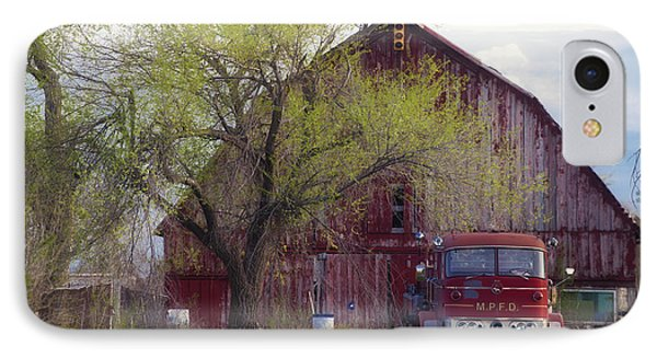 Red Barn Red Truck IPhone Case by Toni Hopper