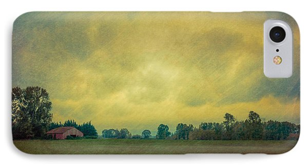 Red Barn Under Stormy Skies IPhone Case by Don Schwartz