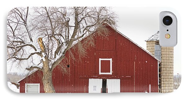 Red Barn Winter Country Landscape Phone Case by James BO  Insogna